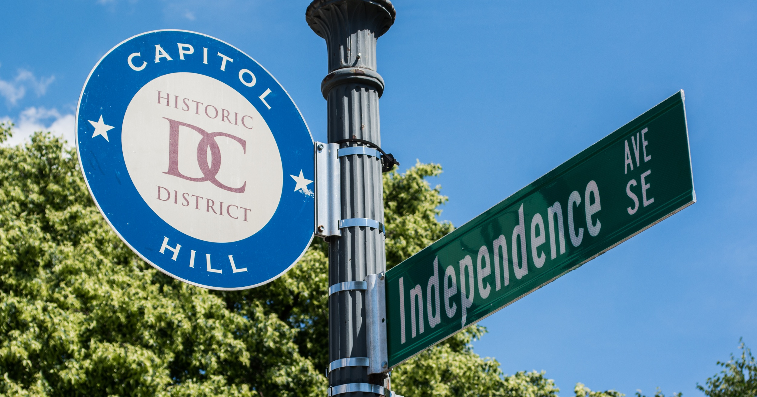 Capitol Hill Historic DC District Independence Ave Street Sign