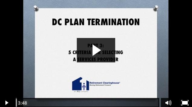 Mike Wilder DC Plan Termination Part 3 Video Series